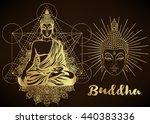 buddha vector illustration over ... | Shutterstock .eps vector #440383336