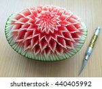 show steps carved watermelon. | Shutterstock . vector #440405992