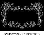 hand drawing frame with roses | Shutterstock .eps vector #440413018
