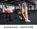 athletic young sexy blonde girl ... | Shutterstock . vector #440414788