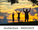 silhouette happy kids under a... | Shutterstock . vector #440423425