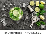 cocktail with lime  mint and... | Shutterstock . vector #440431612