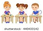 funny pupils sit on desks read... | Shutterstock .eps vector #440433142