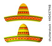 two colored cartoon sombrero on ... | Shutterstock .eps vector #440437948