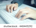 business woman hand typing on... | Shutterstock . vector #440445292