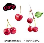 cherry watercolor hand draw ... | Shutterstock . vector #440448592