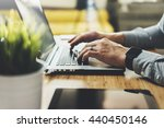 close up of male hands using... | Shutterstock . vector #440450146