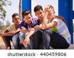 group of multi ethnic teens in... | Shutterstock . vector #440459806