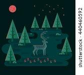 deer in night forest. wildlife...