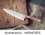 Big Kitchen Knife Lying On An...