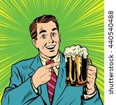 retro man with a beer pop art.... | Shutterstock . vector #440540488