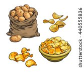 fried potato chips and fresh ... | Shutterstock .eps vector #440555836