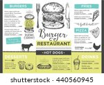 menu place mat food restaurant... | Shutterstock .eps vector #440560945