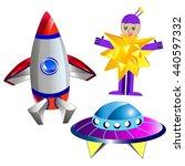 Rocket And Alien Airship
