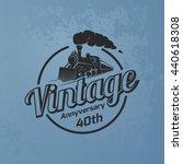 retro train logo on blue grunge ... | Shutterstock .eps vector #440618308