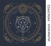vintage thin line leo zodiac...   Shutterstock . vector #440619922