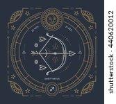 vintage thin line sagittarius... | Shutterstock . vector #440620012