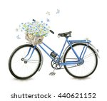 Watercolor Blue Bicycle With...