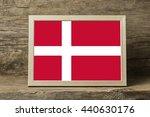 denmark flag in a wooden photo...   Shutterstock . vector #440630176