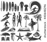 Surfing Icon Set With Men And...