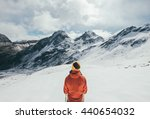 the girl is in awe of the alps...   Shutterstock . vector #440654032