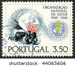 PORTUGAL - CIRCA 1968: Stamp printed by the Portuguese Post to commemorate 20 years of the WHO (World Health Organization), circa 1968 - stock photo