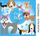 cute funny dogs. beagle  husky  ... | Shutterstock .eps vector #440665516