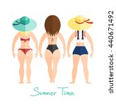 three women  girls in swimsuit  ... | Shutterstock .eps vector #440671492