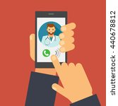 doctor on call and an online... | Shutterstock .eps vector #440678812