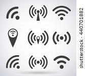 set of wi fi icons and wireless ... | Shutterstock .eps vector #440701882