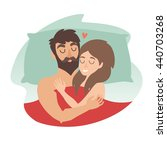 man and woman couple at bed.... | Shutterstock .eps vector #440703268