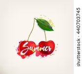 watercolor red cherry with... | Shutterstock .eps vector #440703745