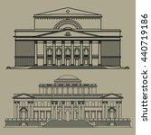 old building facade drawing set ... | Shutterstock .eps vector #440719186
