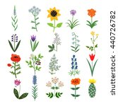 set of decorative vector plants | Shutterstock .eps vector #440726782