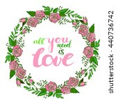 vector floral wreath with... | Shutterstock .eps vector #440736742
