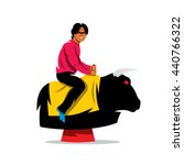 Vector Bull Ride Cartoon...