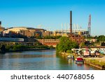 Small photo of CLEVELAND, OH - JUNE 17, 2016: Quicken Loans Arena (the Q) from the Cuyahoga River. The Q is the home of the new NBA champion Cavaliers; it will host the Republican National Convention in July.