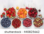 various fresh fruits in bowls... | Shutterstock . vector #440825662