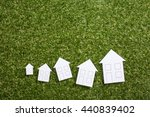 paper house with magnifying... | Shutterstock . vector #440839402