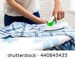 closeup of woman ironing... | Shutterstock . vector #440845435