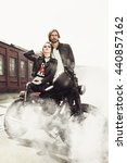 Couple In Love. Bikers And...