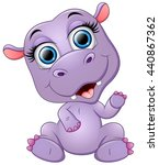 happy cartoon hippo waving | Shutterstock .eps vector #440867362