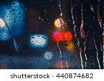 Rain Drops On Window With Road...