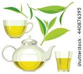 green tea leaves  tea  kettle ... | Shutterstock .eps vector #440876395