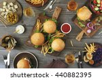 different burgers with snacks... | Shutterstock . vector #440882395