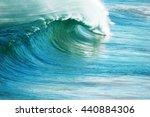 perfect blue ocean surfing wave. | Shutterstock . vector #440884306