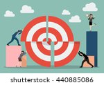 business teamwork pushing a... | Shutterstock .eps vector #440885086