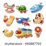 sticker set of many toys... | Shutterstock .eps vector #440887702