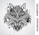 patterned head of the wolf on... | Shutterstock .eps vector #440891302