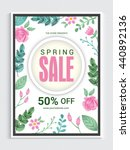 stylish spring sale flyer  sale ... | Shutterstock .eps vector #440892136